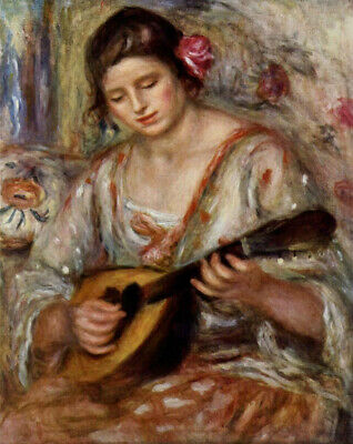 "perfect oil painting handpainted on canvas""girl playing the mandolin ""N15329"