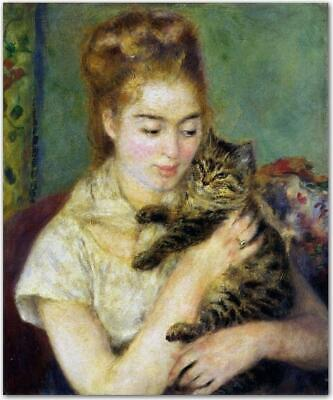 "perfect 20x24 oil painting handpainted on canvas""girl with a cat ""N15332"