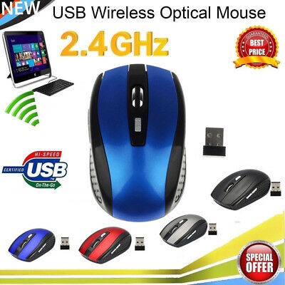 2.4GHz Wireless Cordless Mouse Mice Optical Scroll F PC Laptop Computer USB Blue