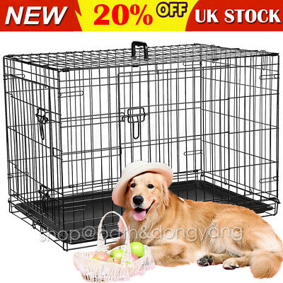 Dog Cage Crates Puppy Pet Carrier Training With Tray 18-48inch 6Size 2 Doors
