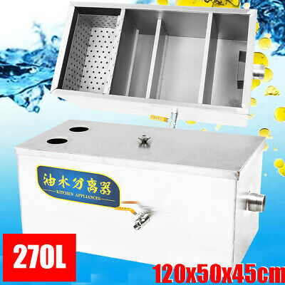 270L Kitchen Restaurant Grease Oil Trap Stainless Interceptor Filter Commercial