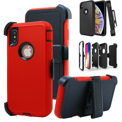 For iPhone XR XS Max Rugged Armor Case w/ Stand Belt Clip Fits Otterbox Defender