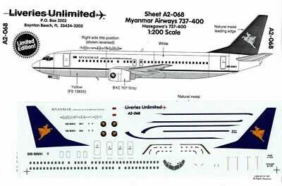 500     F9 Liveries Unlimited   decals 1//200 A2-066 Lot Polish Boeing 737-400