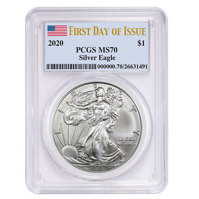 2020 $1 American Silver Eagle PCGS MS70 FDOI Flag Label