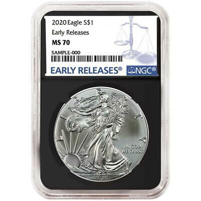2020 $1 American Silver Eagle NGC MS70 Blue ER Label Retro Core