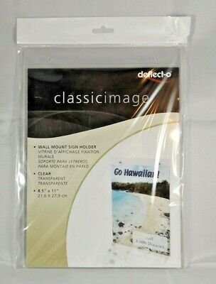 "Deflect-o Classic Image Wall Mount Sign Holder Clear 68201  8.5"" x 11"" NEW"
