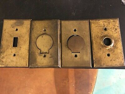 4 Vintage Brass Push Button and Flip Light Switch Wall Cover Plate ~ Old Salvage