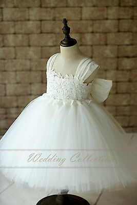 Flower Girl Dress Cap Sleeves Tulle Ball Gown Knee Length with Big Bow