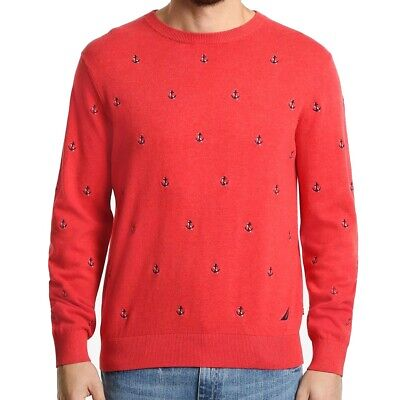 Nautica Mens Sweater Coral Red Size 2XL Anchor Knit Ribbed Crewneck $89 #012