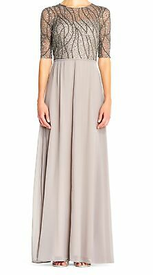 Adrianna Papell Women's Dress Gray Size 4 Gown Sequin Mesh Chiffon $225 #151