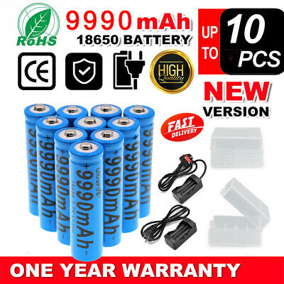 NEW 10PCS Lithium 3.7V Rechargeable 18650 Battery 9990mAh with Fast Dual Charger