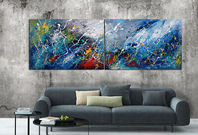 Abstract Sparkling Ocean Canvas Oil Painting Home Large Wall Art Decor