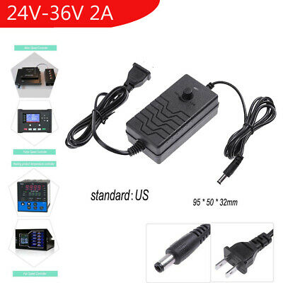 AC to DC Adapter 24-36V 2A Adjustable Power Supply Speed Controller for Motor
