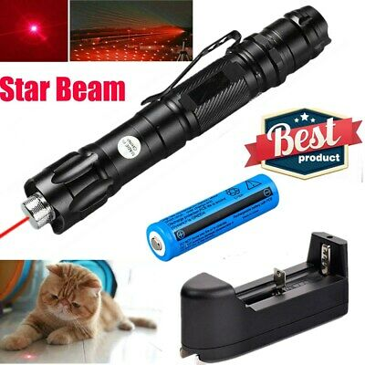 1mW 2in1 600Mile 009 650nm Red Laser Pointer Pen Set+ 18650Battery+Char+Star Cap