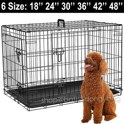 Pet Cages Metal Dog Cat Puppy Training Folding Crate Animal Transport With Tray√