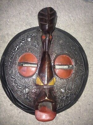 Large African Authentic Kenyan tribal round curved wood mask