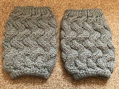 Women's 2 Grey Boot Cuffs Cable Knit One Size New Free P&P