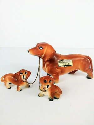 Vintage Ceramic Dachshund Dog With 2 Puppies on Chains / Japan