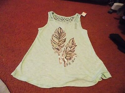 justice-girls size 14/16 mint green- Foil design- Crochet topping--nwt