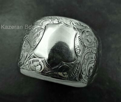 Antique Victorian Hand Chased Solid Sterling Silver Napkin Ring Nathan & Hayes