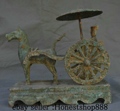 "11"" Old Chinese Bronze Ware Dynasty Horse Pull Carriage People Statue Sculpture"