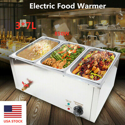 Commercial Electric Countertop Buffet Food Warmer Large Capacity Stainless 850W