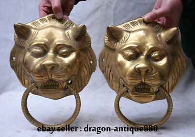 "10.4"" Chinese Copper Brass Folk Feng Shui Tiger Head door knocker Ring Pair"
