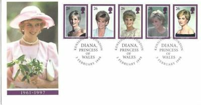 1998 GB DIANA royalty PRINCESS OF WALES STAMP STRIP FDC COVER