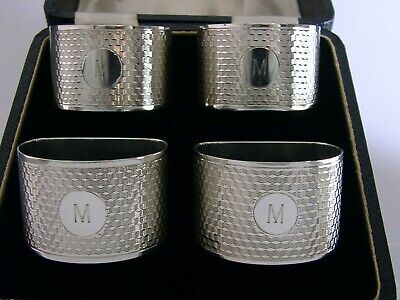 Superb Cased Sterling Silver Art Deco Four Napkin Rings 1933