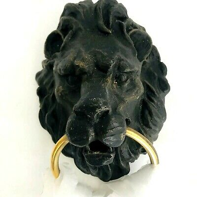 "VICTORIAN STYLE CAST IRON FIGURAL LIONS HEAD TOWEL RING / DOOR KNOCKER 8 1/4""x6"""