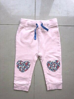 MINI BODEN Baby Girls Trousers 6 - 12 Months Pink Heart Knee Stretchy