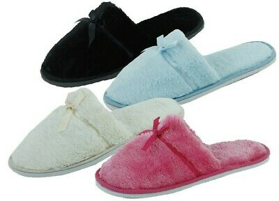 New Women's Fashion Terry Spa Close Toe Flip flop House Slippers with Bow