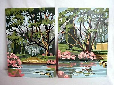 """Paint By Number Lily Pond and Trees 2 Completed Unframed Pictures 10"""" × 14"""""""