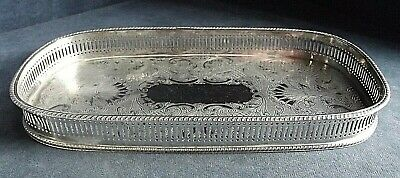 """GOOD 12"""" ~ SILVER Plated ~ GEORGIAN Styled ~ GALLERY TRAY ~ c1960"""