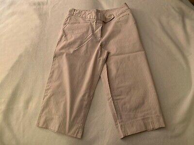 Petite Sophisticate 8P capris gray with pink, white stripes flat front tab close