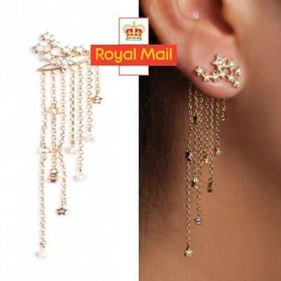 Women 925 Sterling Silver Drop Dangle Long Star Tassel Earrings Jewellery Gifts