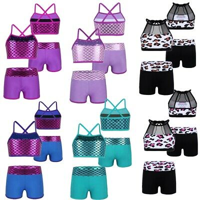 Girls Crop Top+Shorts Outfits Gymnastics Sports Leotards Performance tank top