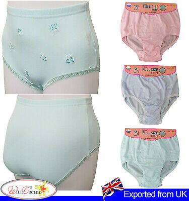 12 WOMENS MAXI PANTIES LADIES FULL SIZE BRIEFS EMBROIDERY KNICKER MAMA UNDERWEAR