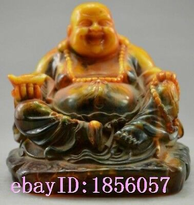 Collectible Decorated Old Handwork Carved Smile Buddha Statue M