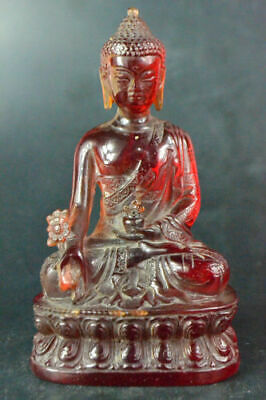 Chinese Collectible Old amber handwork carve buddha sit lotus big vintage Statue