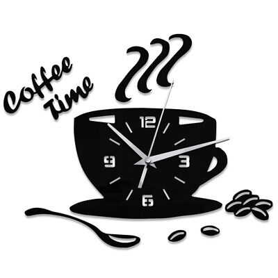 Mute Sticker Wall Clock Kitchen Cup Shape Numerals Home Decor Acrylic 3D Coffee
