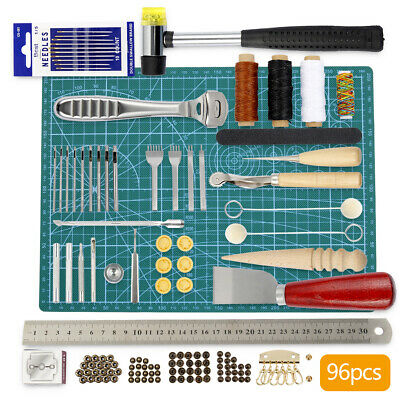 96Pc Retro Leather Craft Tools Kit Stitching Sewing Beveler Punch Work Hand Tool