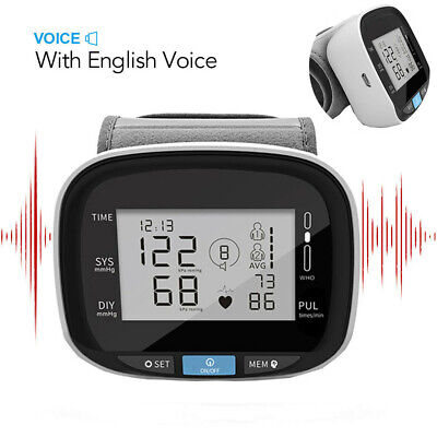 Digital Automatic LCD Screen Wrist Blood Pressure Monitor Heart Rate With Voice