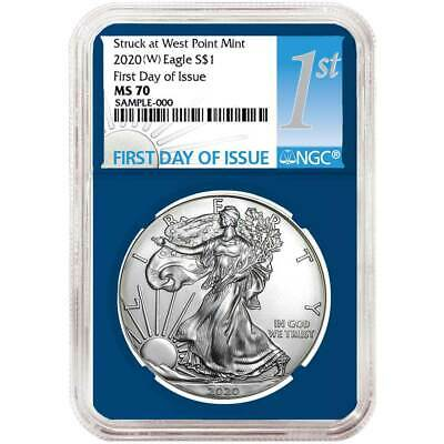 2020 (W) $1 American Silver Eagle NGC MS70 FDI First Label Blue Core
