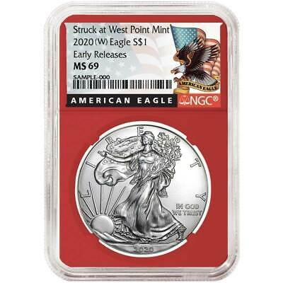 2020 (W) $1 American Silver Eagle NGC MS69 Black ER Label Red Core