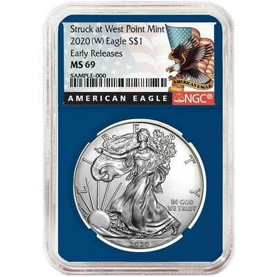 2020 (W) $1 American Silver Eagle NGC MS69 Black ER Label Blue Core