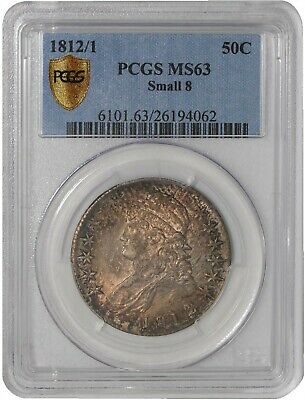 1812/1 Capped Bust Half 50c Small 8 O-102 R.2 MS63 Secure Plus PCGS 939247-1