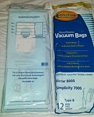 23 Envirocare Type B Upright Vacuum Cleaner Bags Fit Riccar 8000 Simplicity 7000