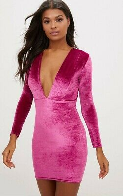 Pretty Little Thing Womens Pink Velvet Extreme Plunge Bodycon Dress Size 12 PLT