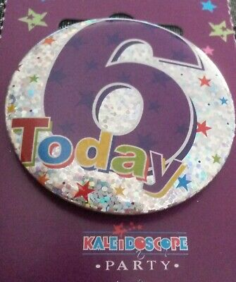 Party Badge 5cm Happy Birthday Age 6 Boy 6th